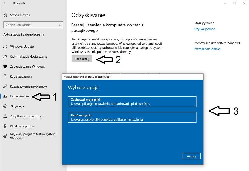 Odzyskiwanie systemu Windows 10